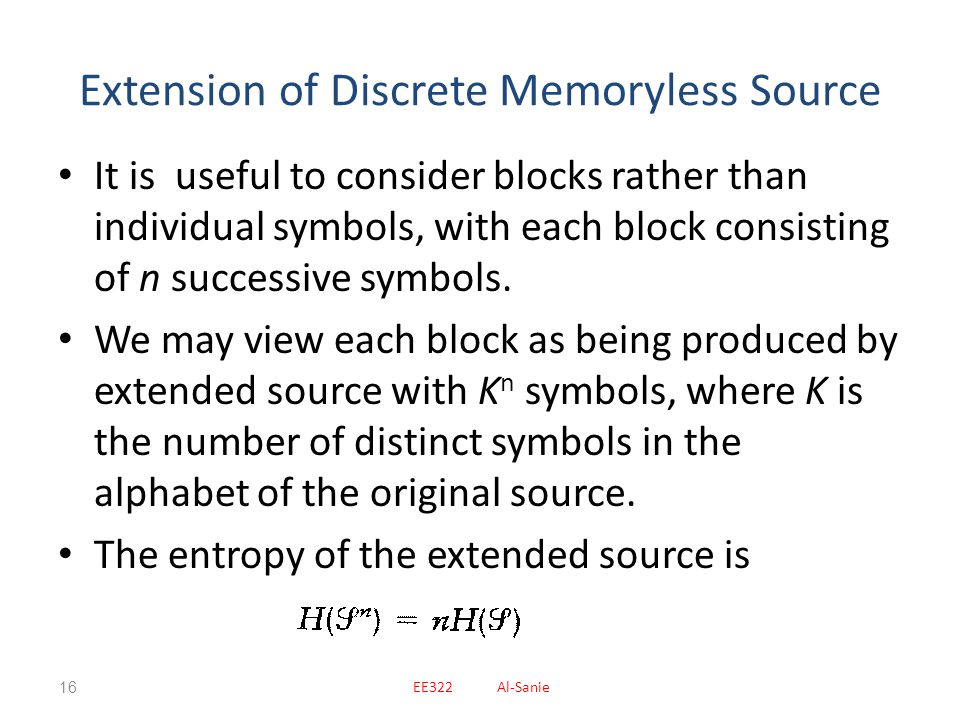 Extension of Discrete Memoryless Source