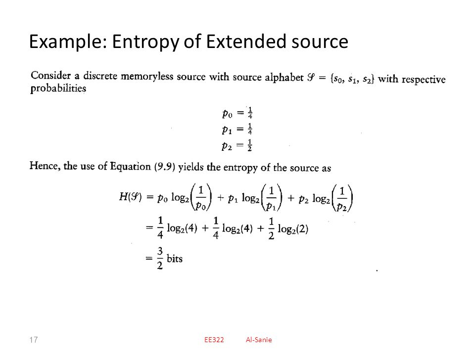 Example: Entropy of Extended source