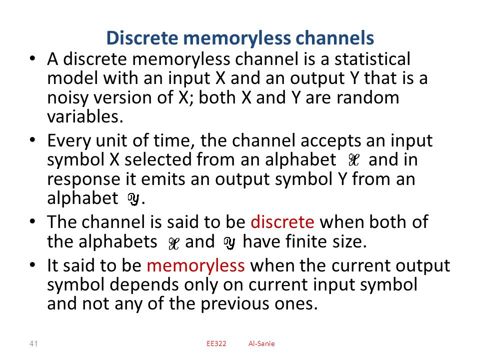 Discrete memoryless channels