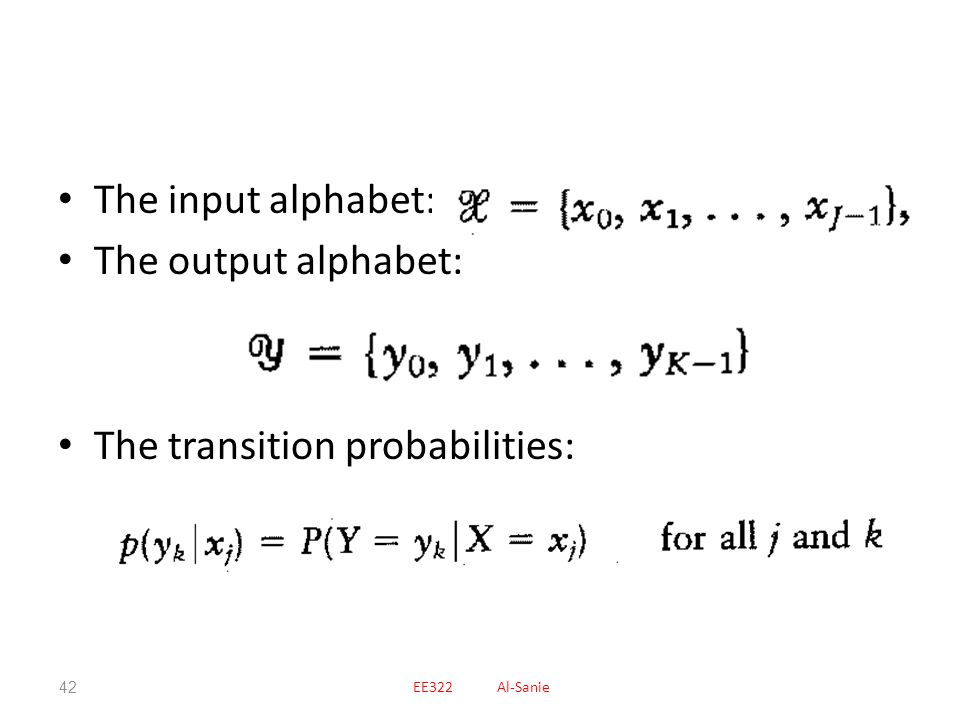 The transition probabilities: