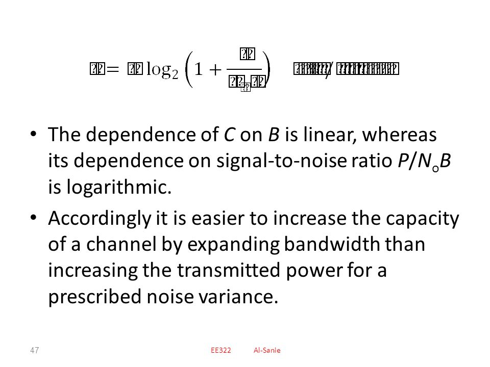 The dependence of C on B is linear, whereas its dependence on signal-to-noise ratio P/NoB is logarithmic.