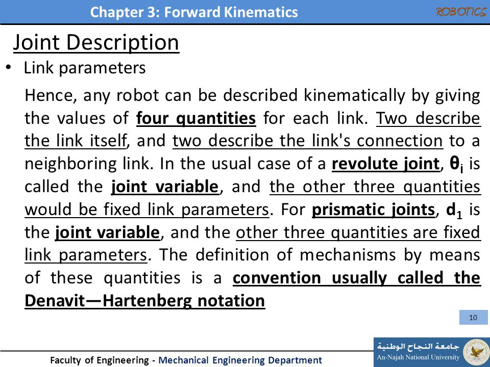 Joint Description Link parameters