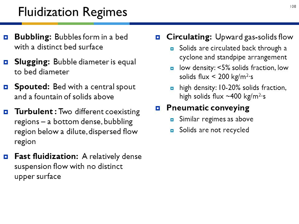 Fluidization Regimes Bubbling: Bubbles form in a bed with a distinct bed surface. Slugging: Bubble diameter is equal to bed diameter.
