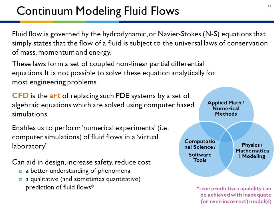 Continuum Modeling Fluid Flows
