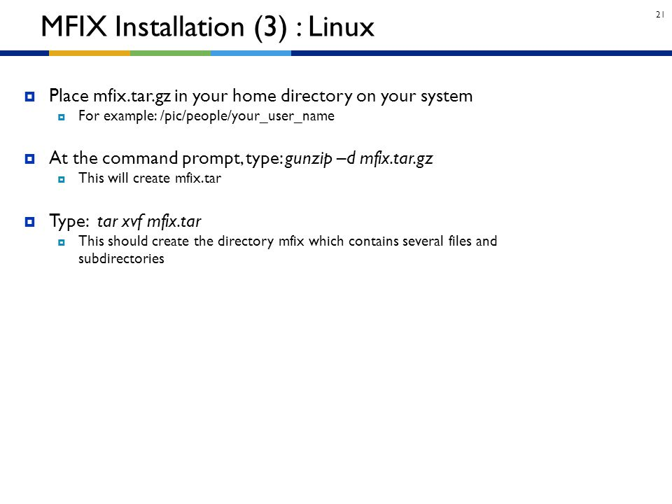 MFIX Installation (3) : Linux
