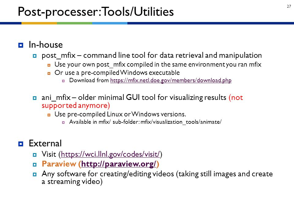 Post-processer: Tools/Utilities