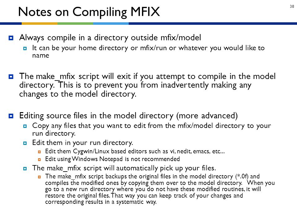Notes on Compiling MFIX