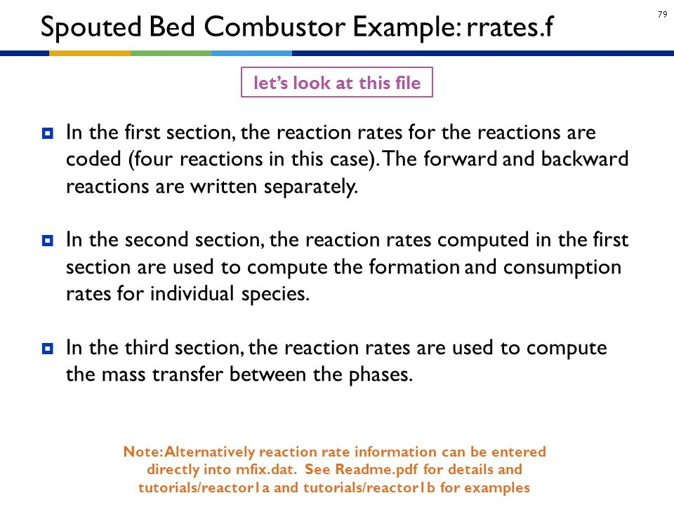 Spouted Bed Combustor Example: rrates.f