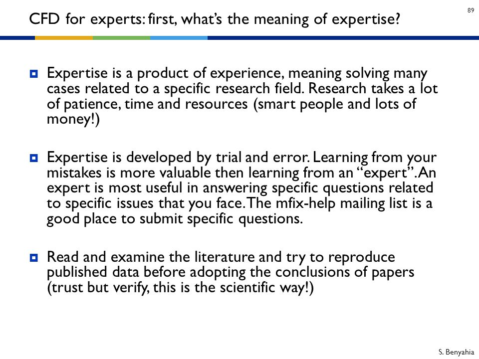 CFD for experts: first, what's the meaning of expertise