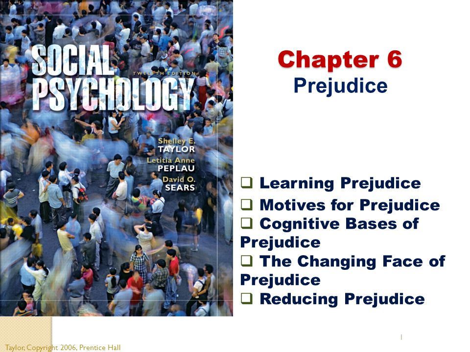 Chapter 6 Prejudice Learning Prejudice Motives for Prejudice