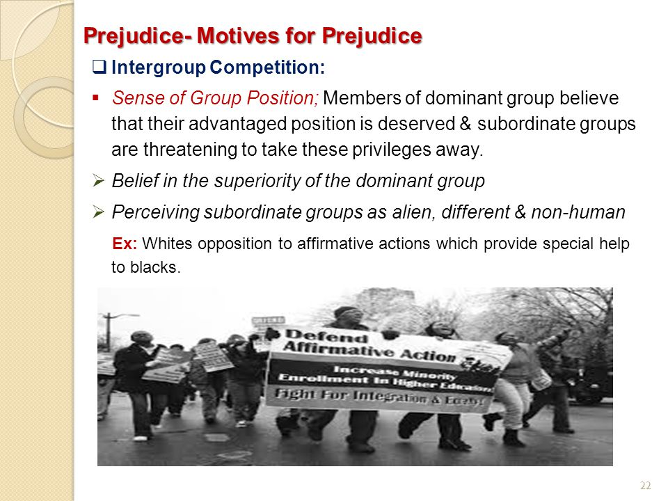 Prejudice- Motives for Prejudice