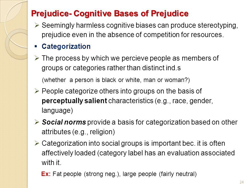 Prejudice- Cognitive Bases of Prejudice