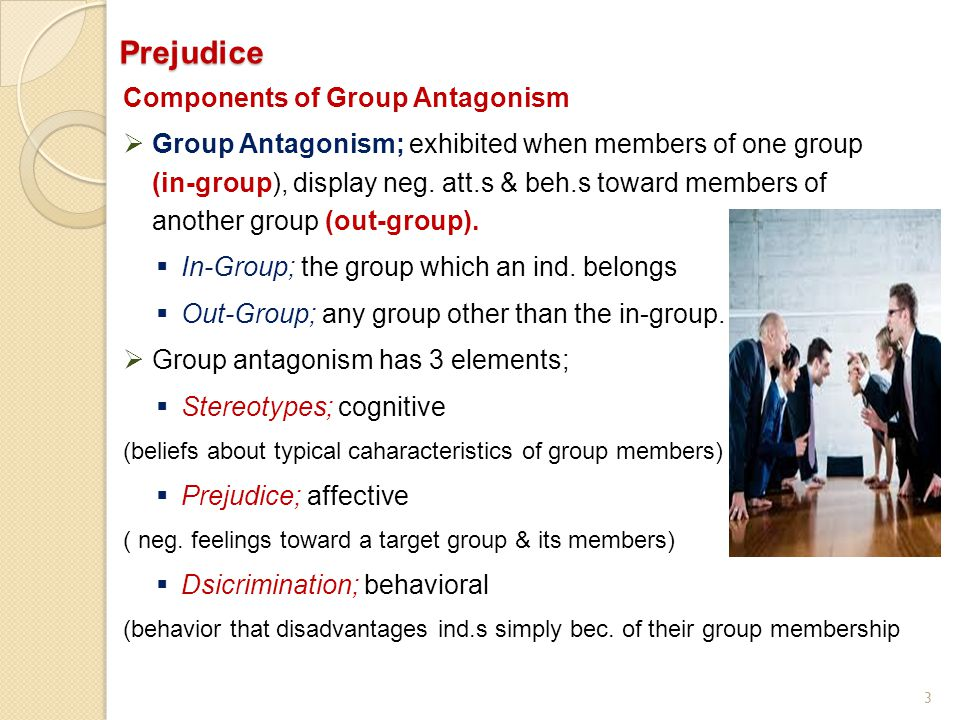 Prejudice Components of Group Antagonism