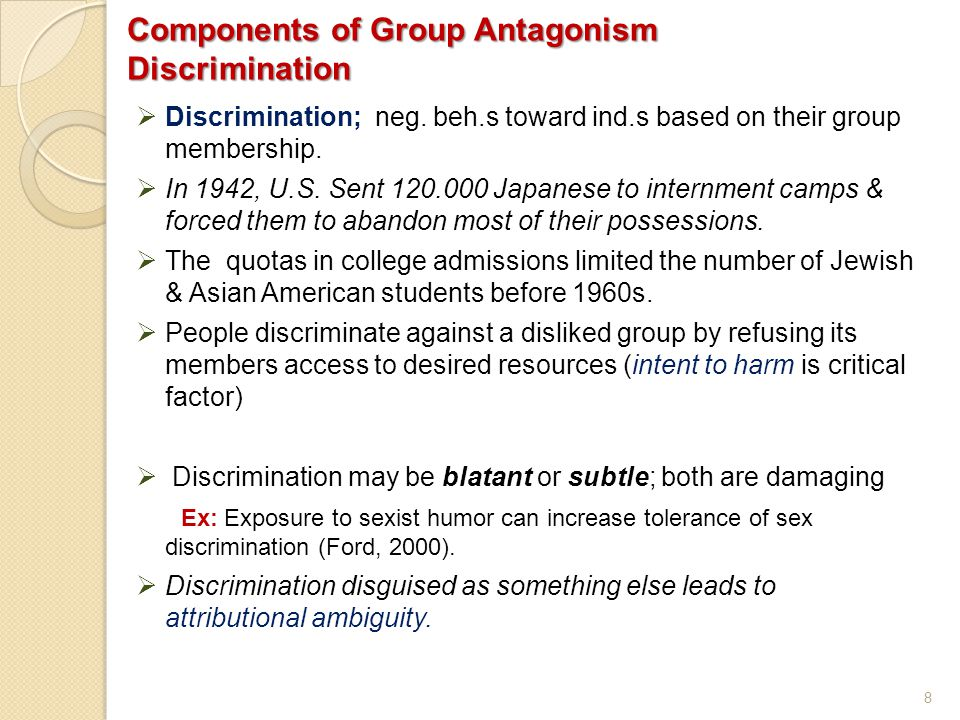 Components of Group Antagonism Discrimination
