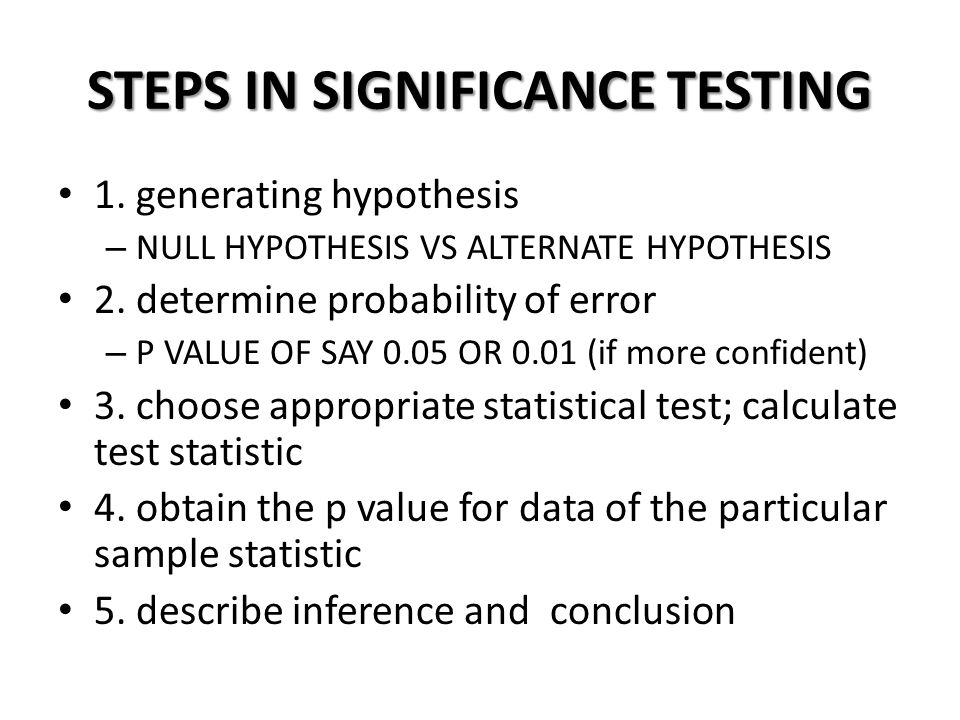 STEPS IN SIGNIFICANCE TESTING