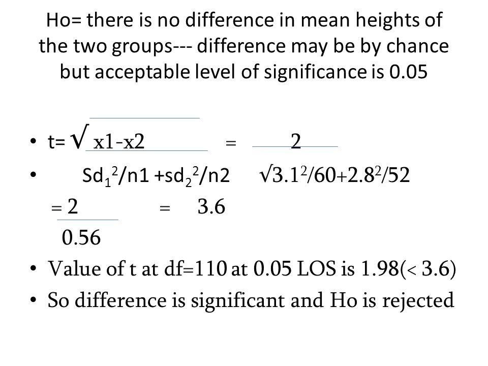 Ho= there is no difference in mean heights of the two groups--- difference may be by chance but acceptable level of significance is 0.05