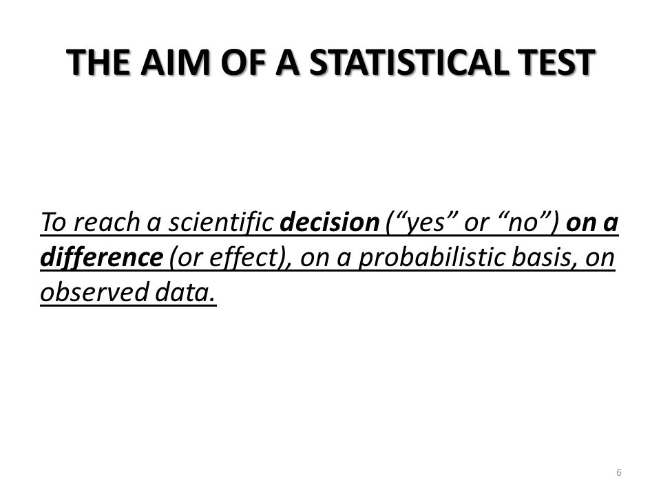THE AIM OF A STATISTICAL TEST