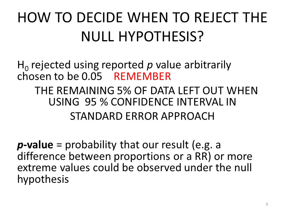HOW TO DECIDE WHEN TO REJECT THE NULL HYPOTHESIS
