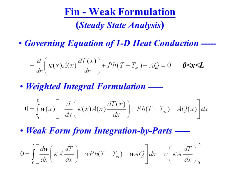 Fin - Weak Formulation (Steady State Analysis)