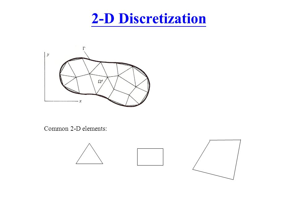 2-D Discretization Common 2-D elements: