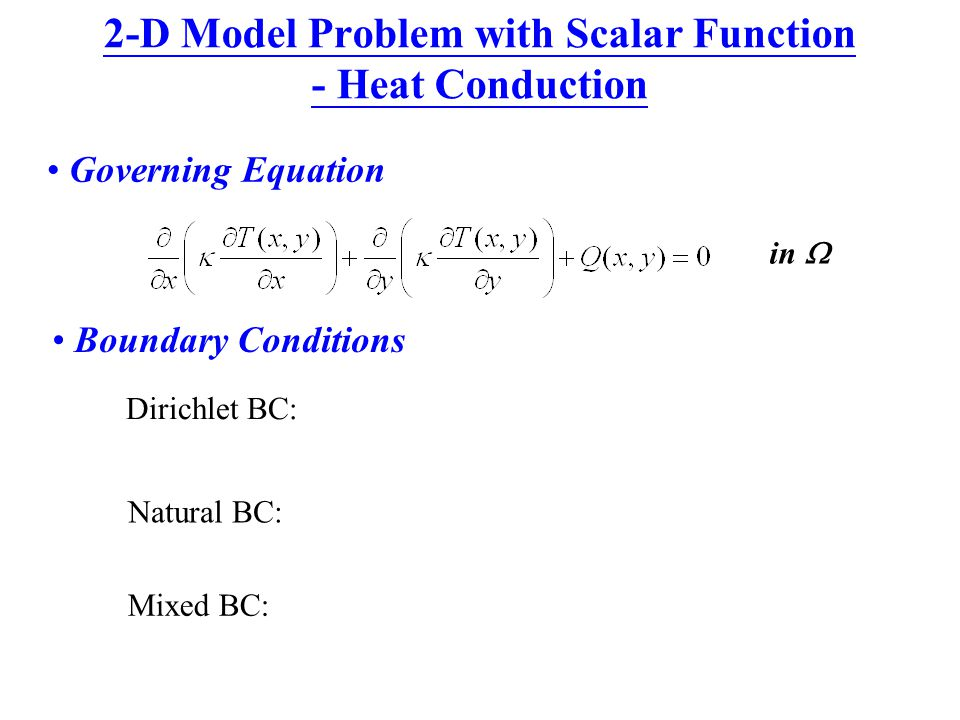 2-D Model Problem with Scalar Function - Heat Conduction