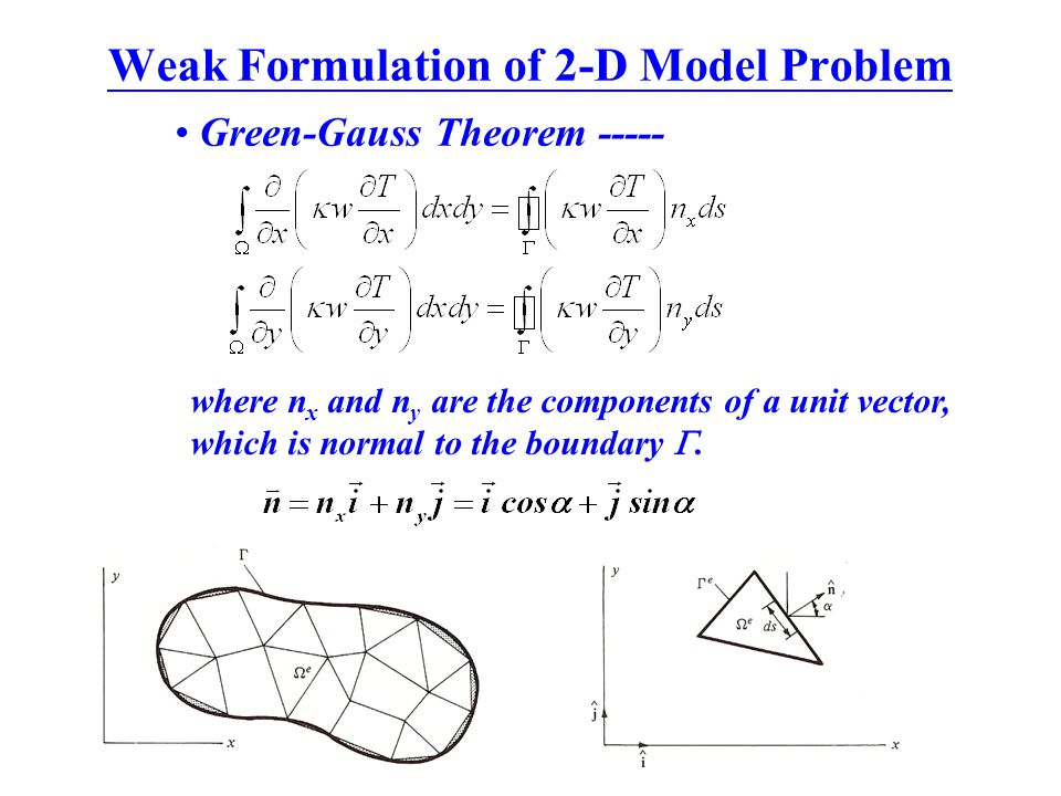 Weak Formulation of 2-D Model Problem