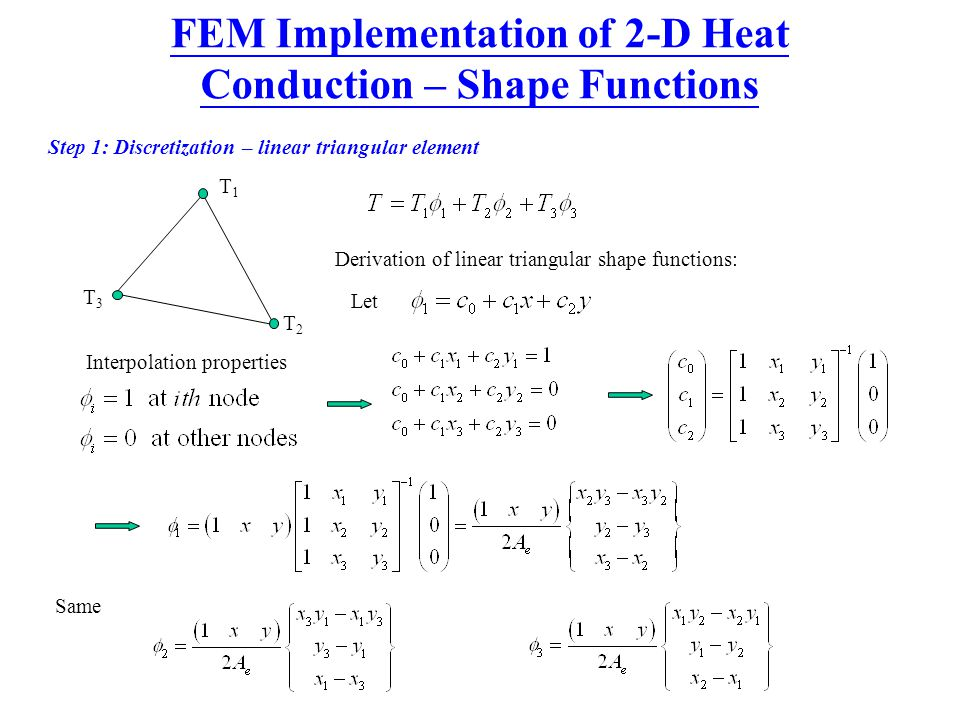 FEM Implementation of 2-D Heat Conduction – Shape Functions
