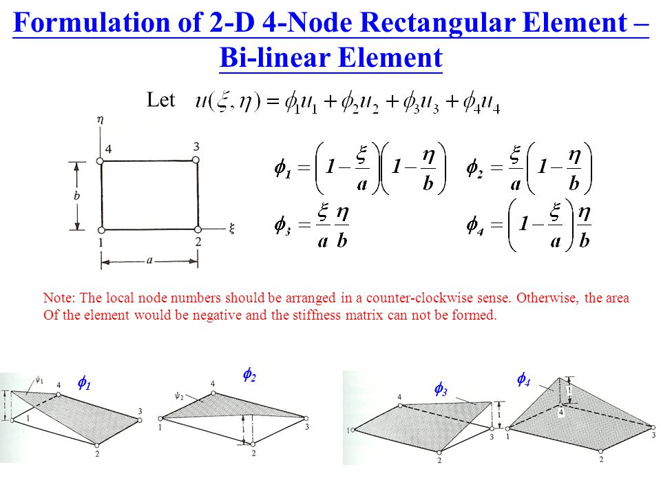 Formulation of 2-D 4-Node Rectangular Element – Bi-linear Element