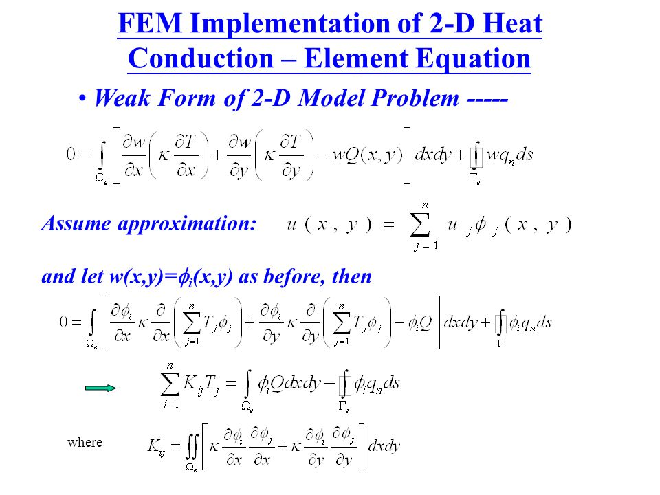 FEM Implementation of 2-D Heat Conduction – Element Equation