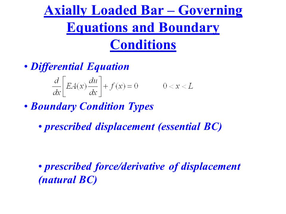 Axially Loaded Bar – Governing Equations and Boundary Conditions