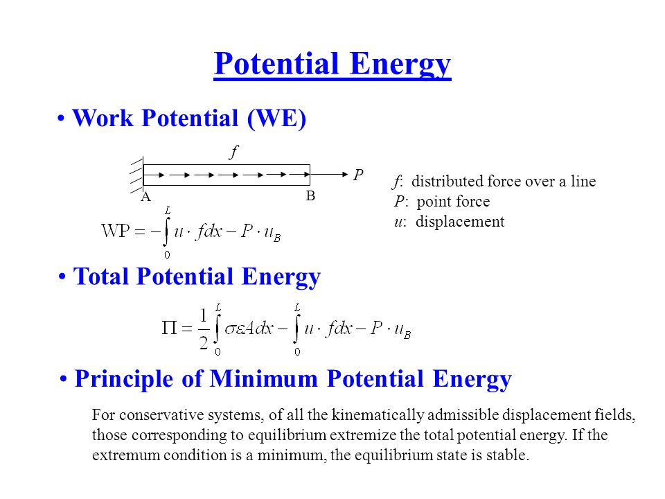 Potential Energy Work Potential (WE) Total Potential Energy