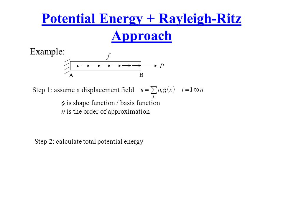 Potential Energy + Rayleigh-Ritz Approach