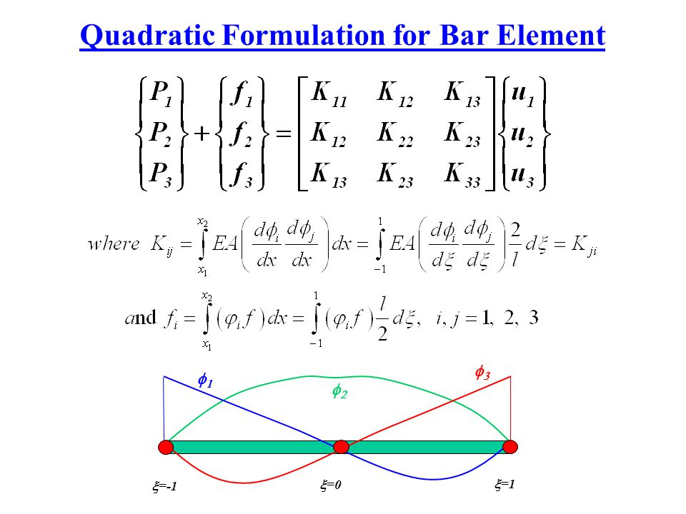 Quadratic Formulation for Bar Element
