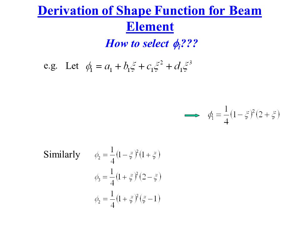 Derivation of Shape Function for Beam Element