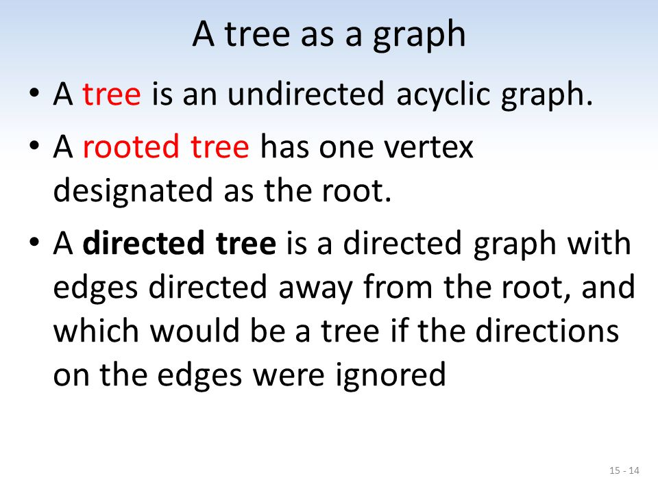 A tree as a graph A tree is an undirected acyclic graph.