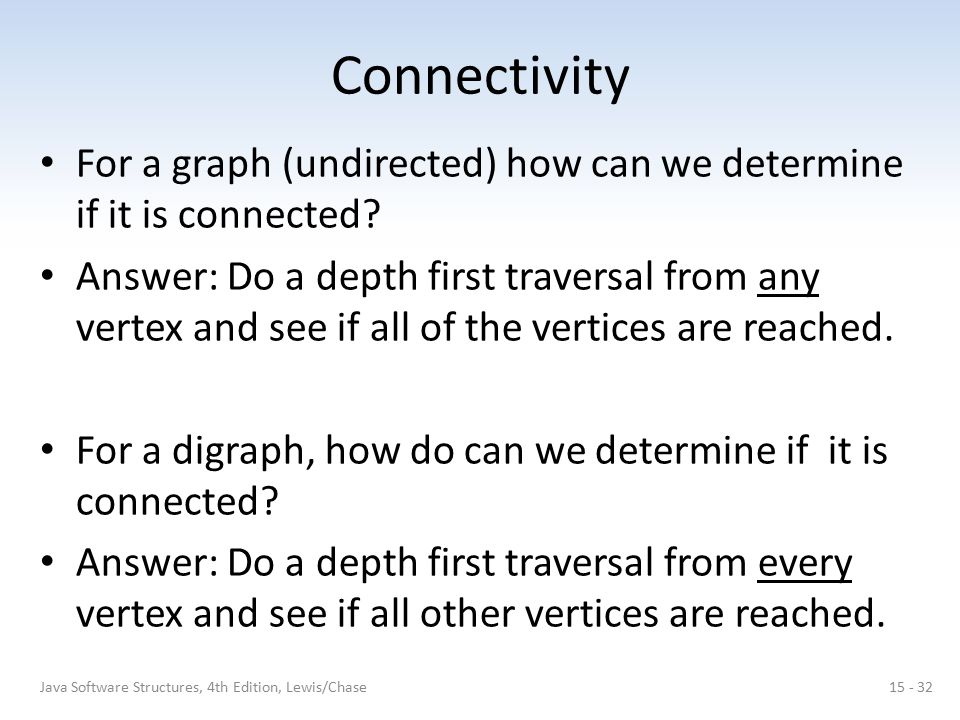 Connectivity For a graph (undirected) how can we determine if it is connected