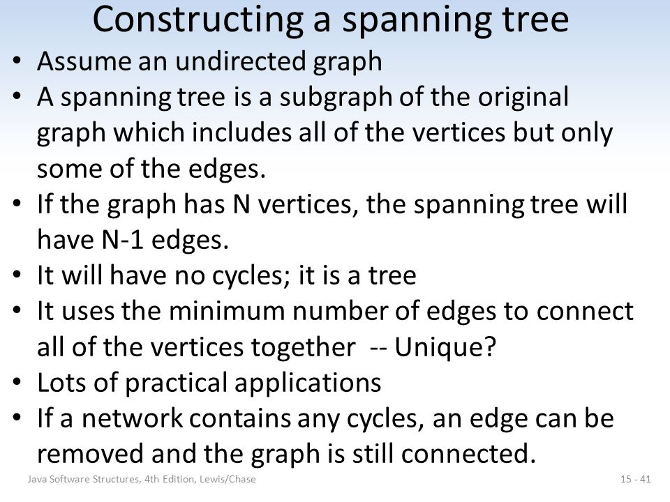 Constructing a spanning tree