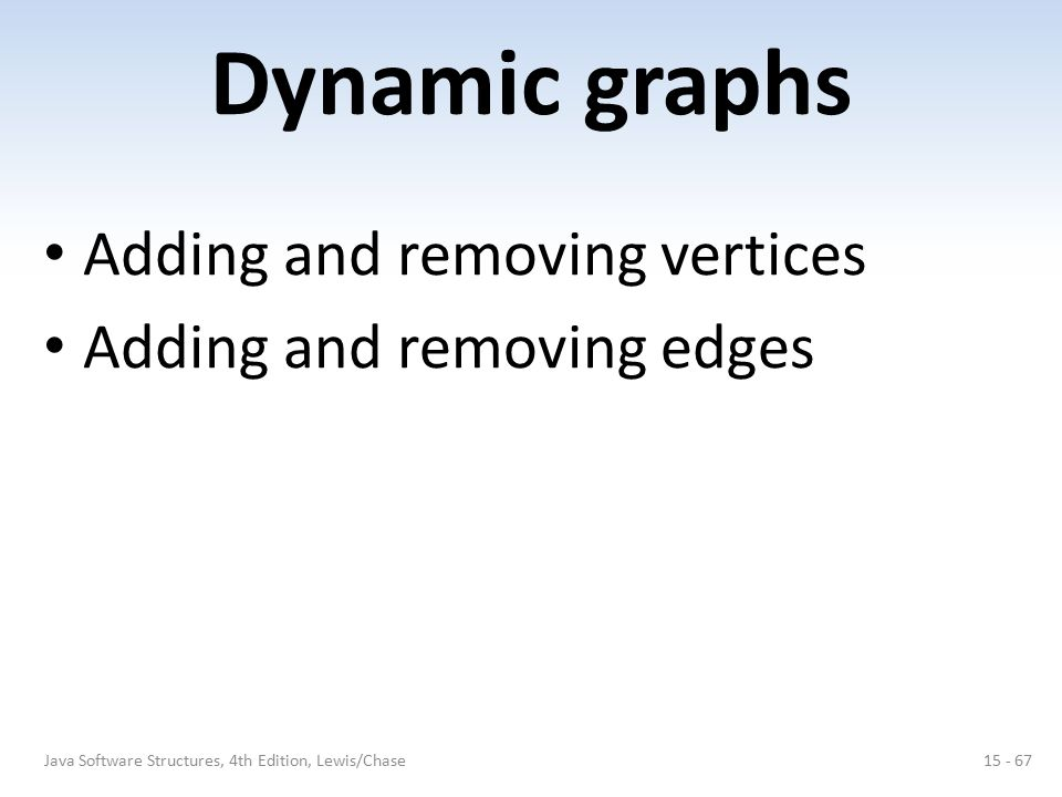 Dynamic graphs Adding and removing vertices Adding and removing edges