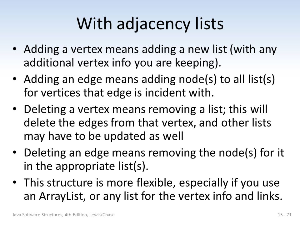 With adjacency lists Adding a vertex means adding a new list (with any additional vertex info you are keeping).