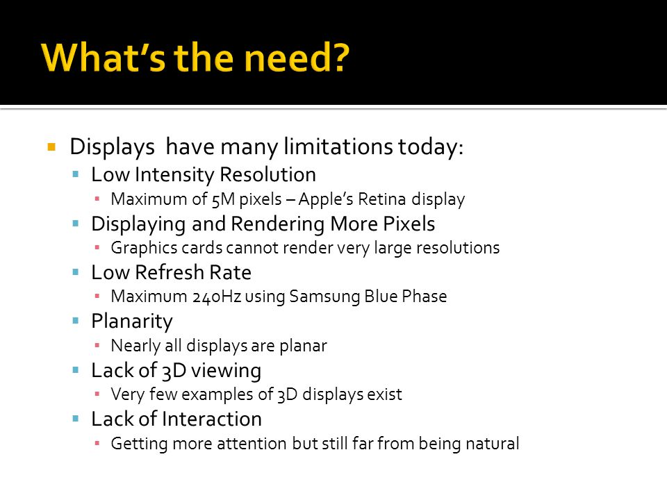 What's the need Displays have many limitations today: