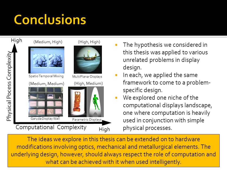 Conclusions Computational Complexity. Physical Pocess Complexity. High. (Medium, High) (High, High)