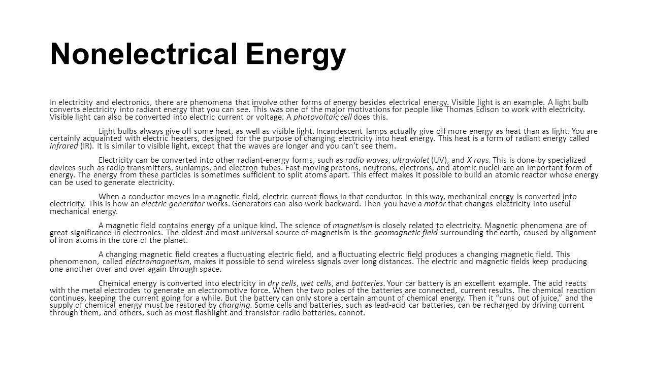 Nonelectrical Energy