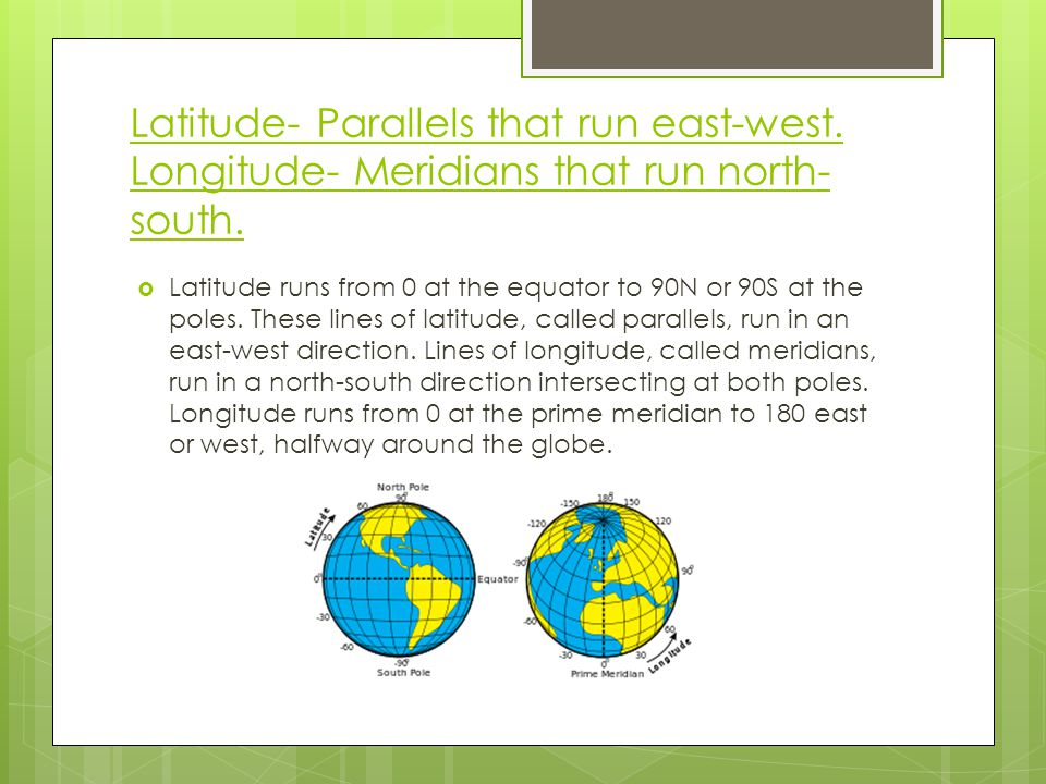Latitude- Parallels that run east-west