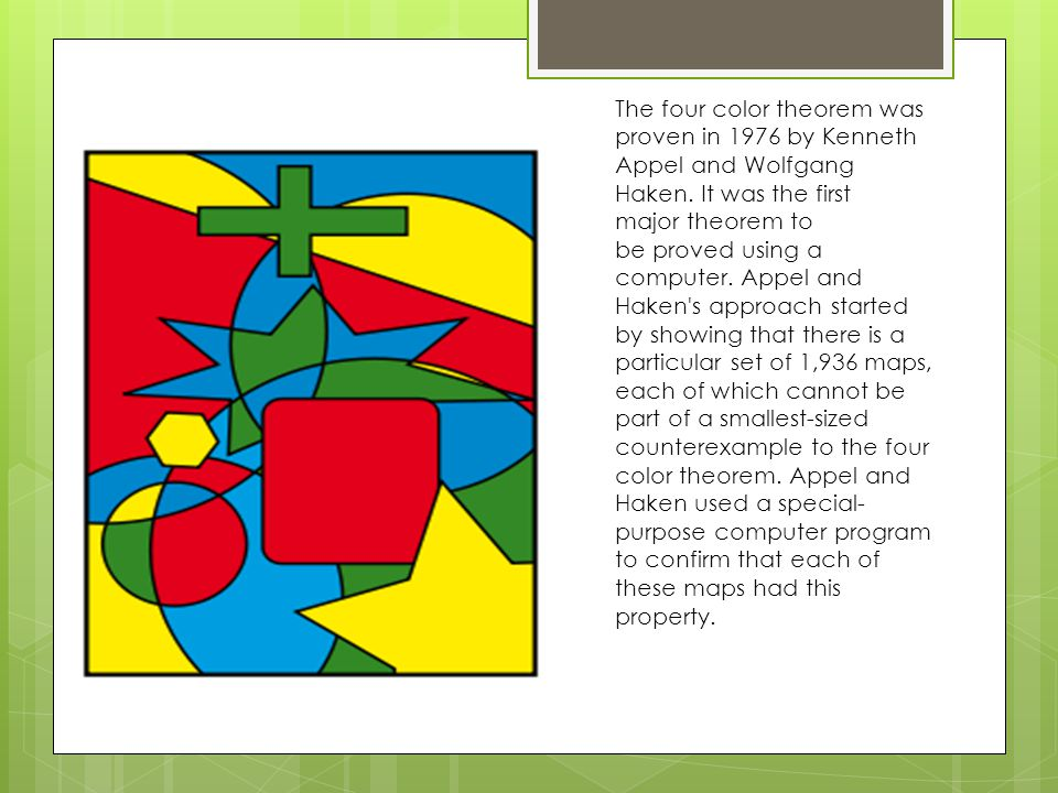 The four color theorem was proven in 1976 by Kenneth Appel and Wolfgang Haken.