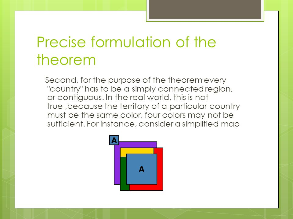 Precise formulation of the theorem