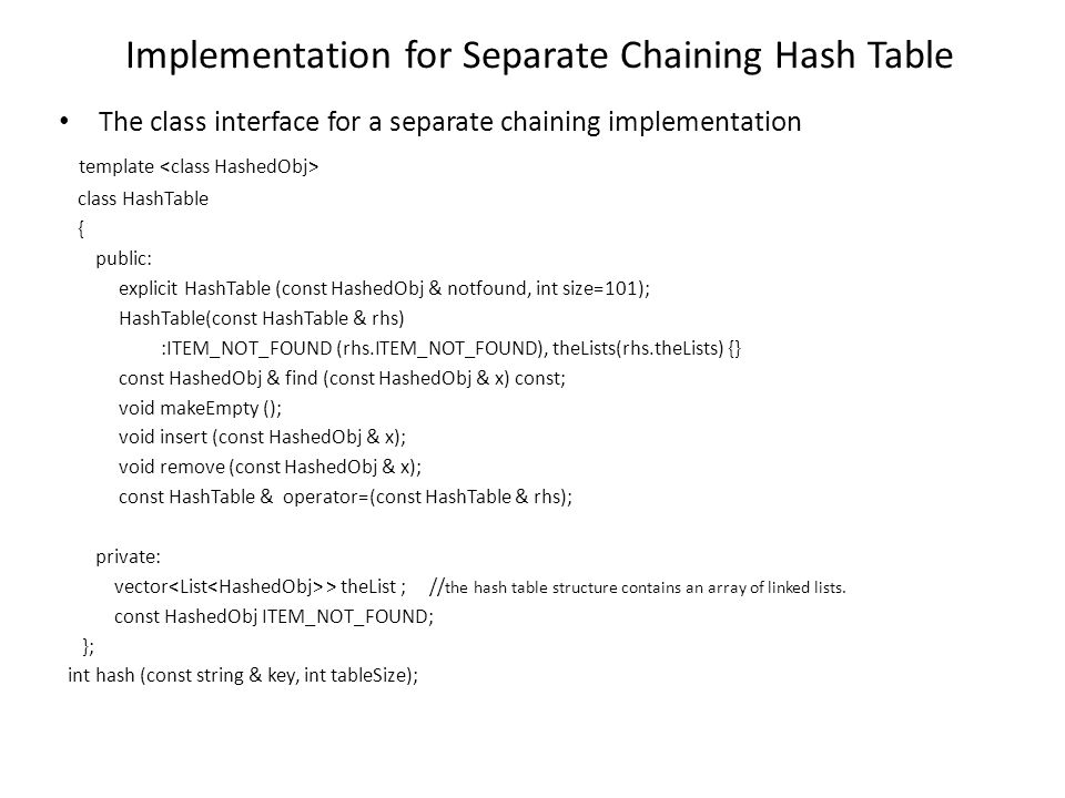Implementation for Separate Chaining Hash Table