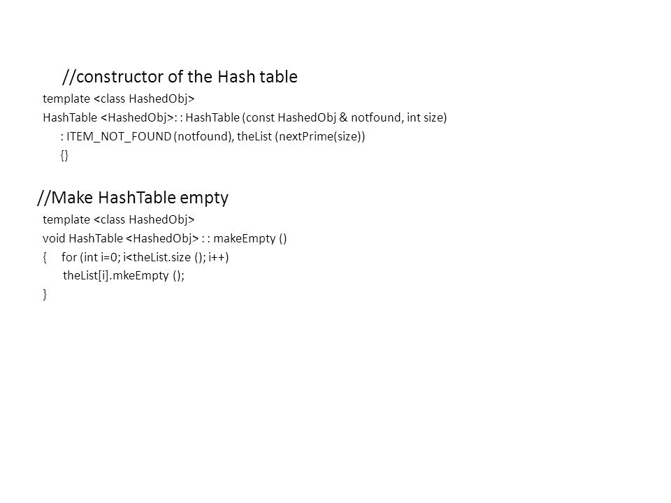 //Make HashTable empty