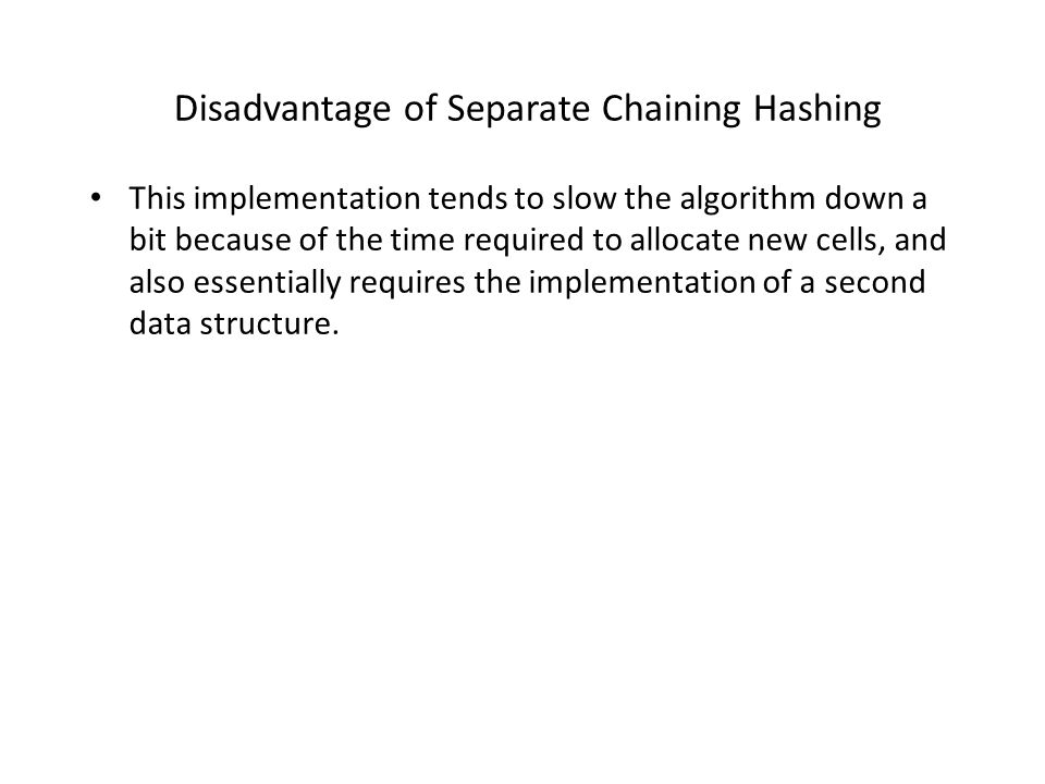 Disadvantage of Separate Chaining Hashing