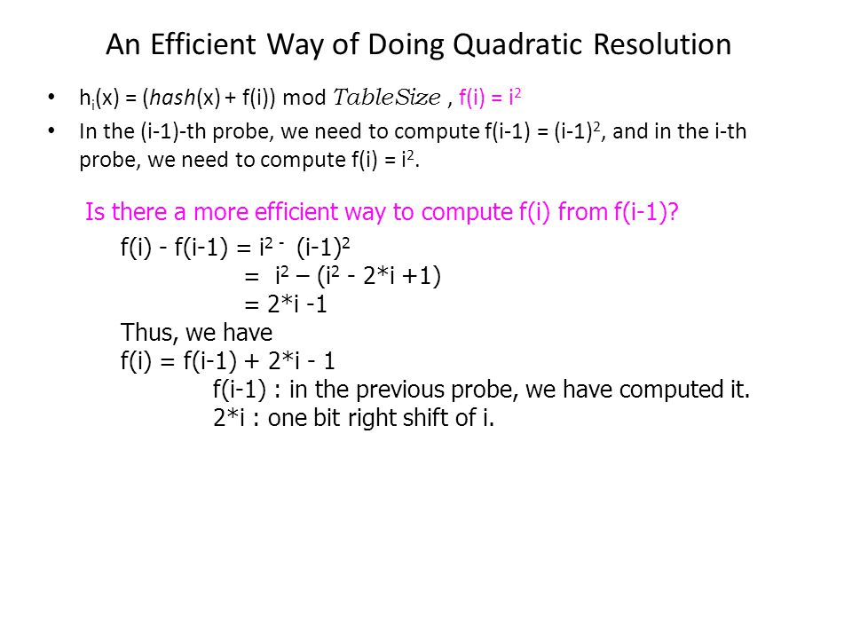 An Efficient Way of Doing Quadratic Resolution