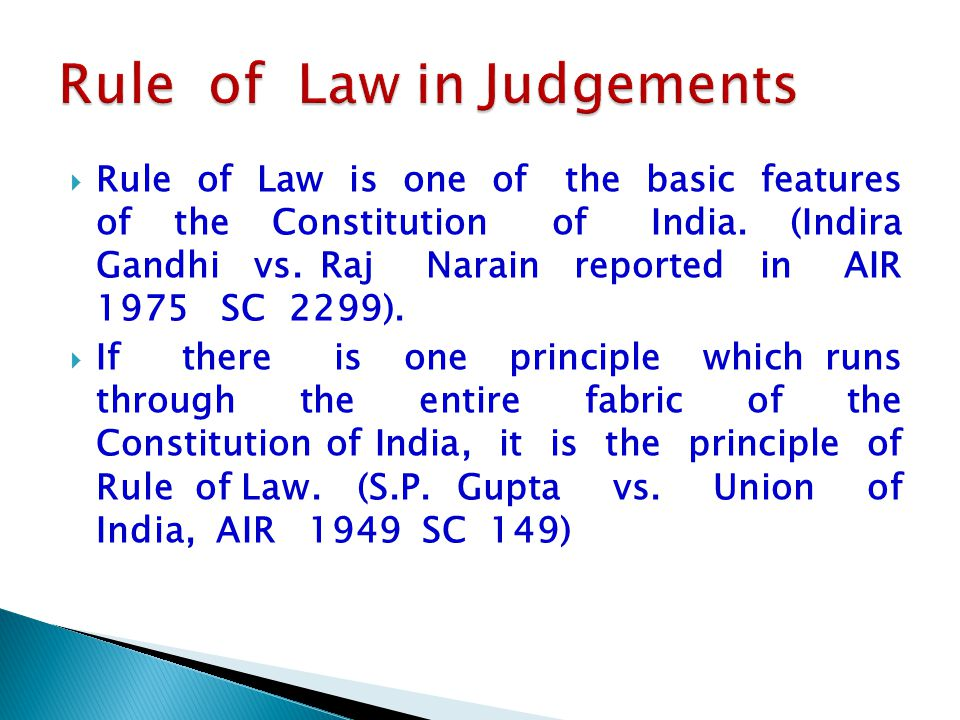 Rule of Law in Judgements